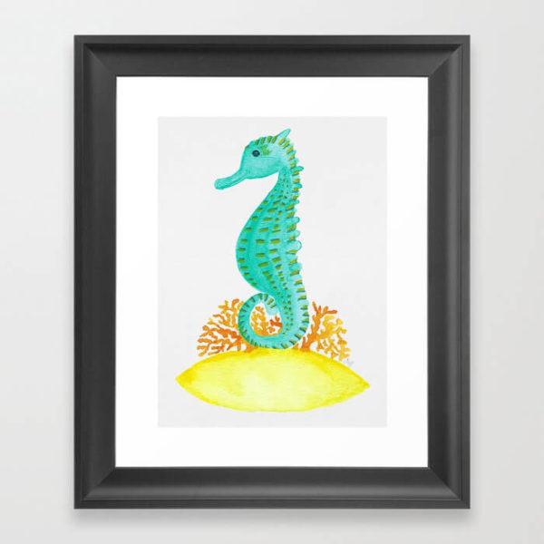 Watercolor Seahorse Life Framed Art Print Product by Aliya Bora