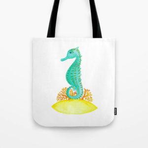 Watercolor Seahorse Life Tote Bag Product by Aliya Bora