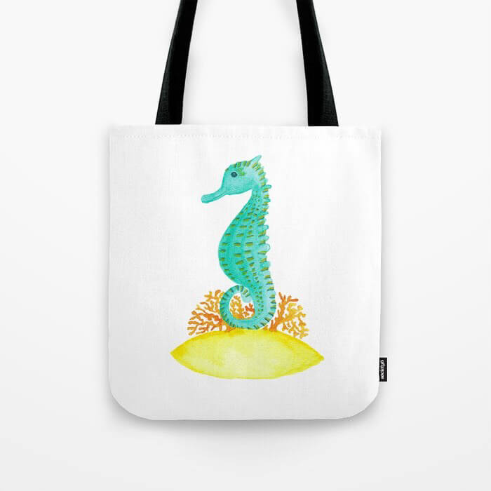 Watercolor Seahorse Life Tote Bag Product by Aliya Bora
