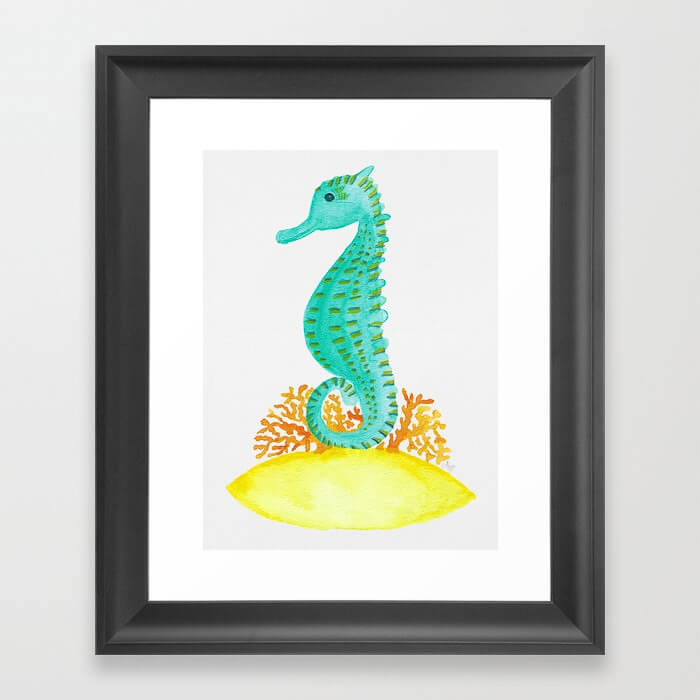 Watercolor Seahorse Life Framed Art Print Product by Aliya Bora