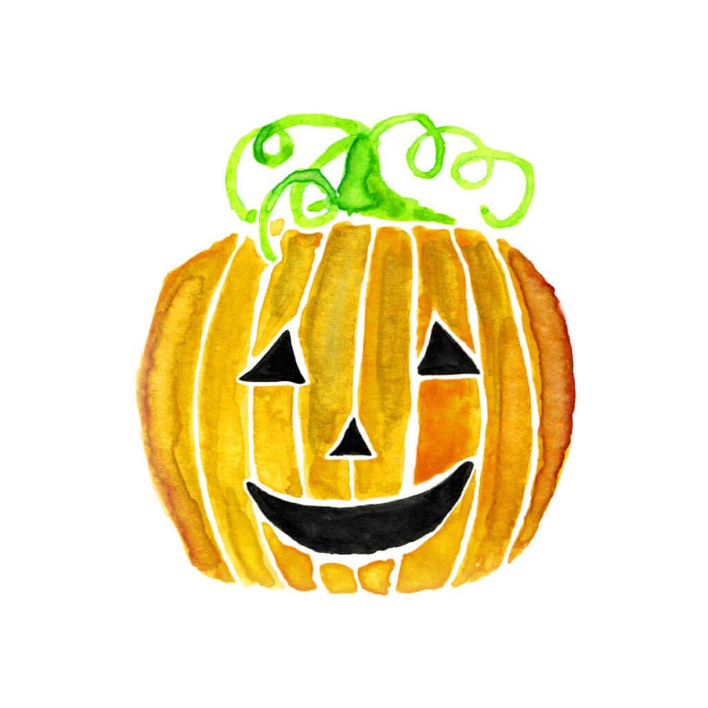 Halloween Jack-O-Lantern Pumpkin Watercolor Print by Aliya Bora