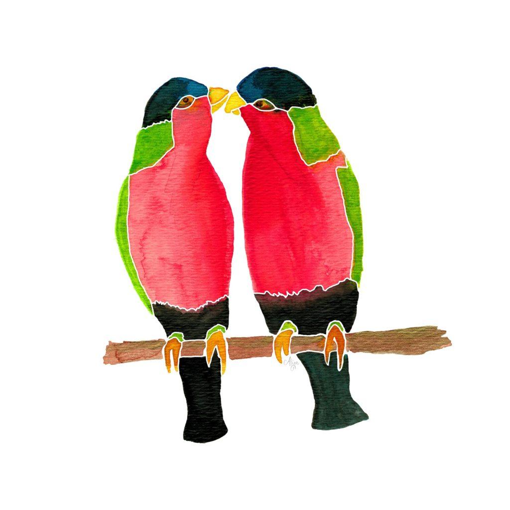 Australian Collared Lorry Birds Watercolor Print by Aliya Bora