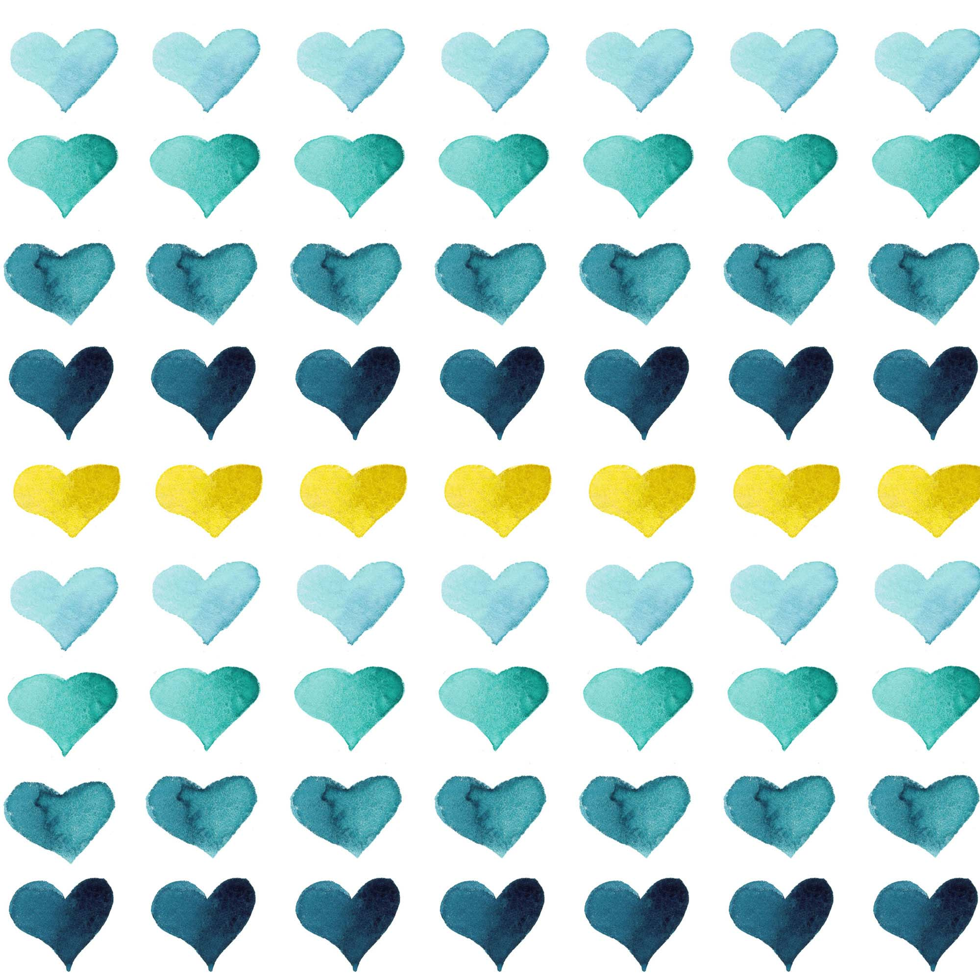 Hearts of the Sea blue & yellow watercolor heart print by Aliya Bora