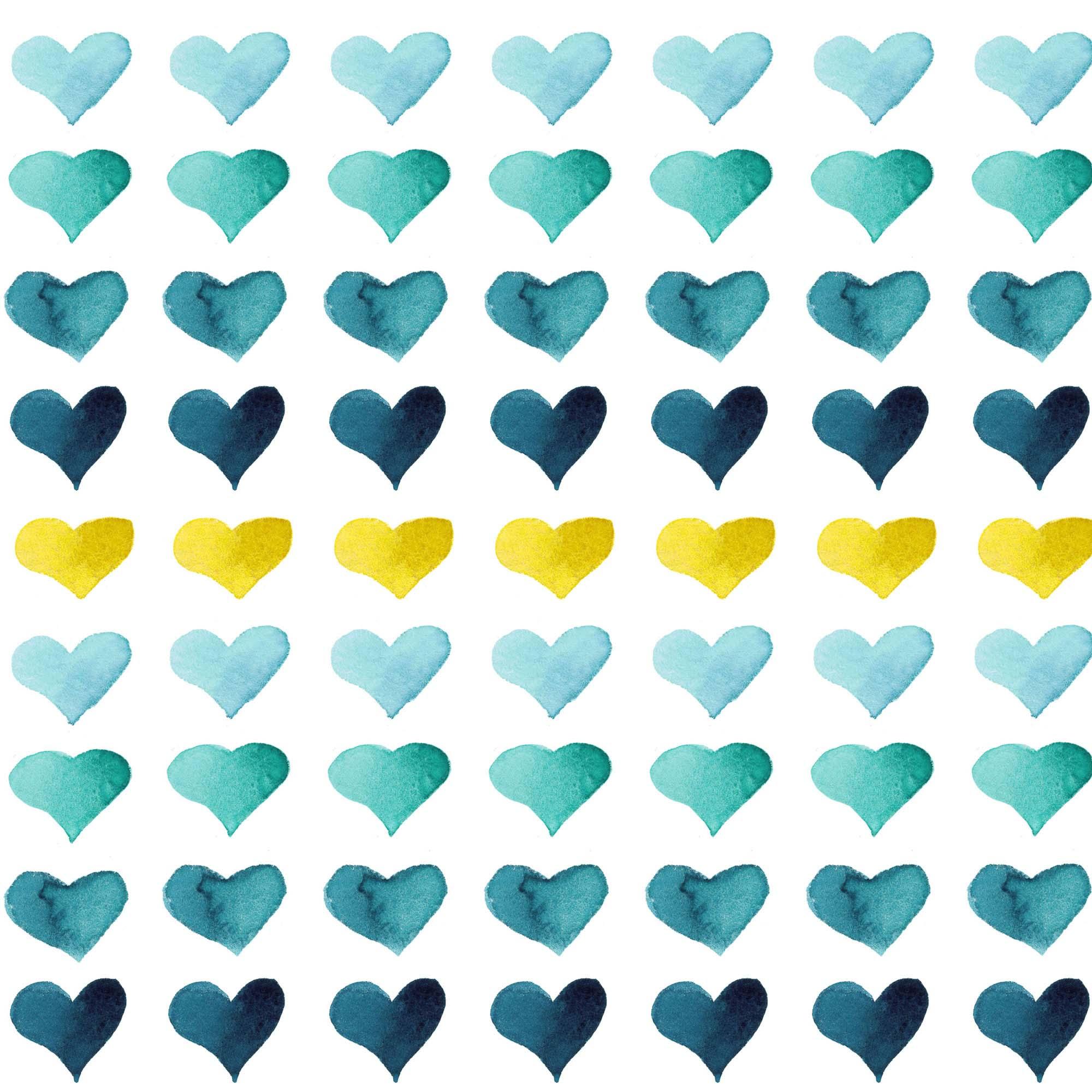 Hearts of the Sea blue & yellow watercolor heart print by Aliya Bora