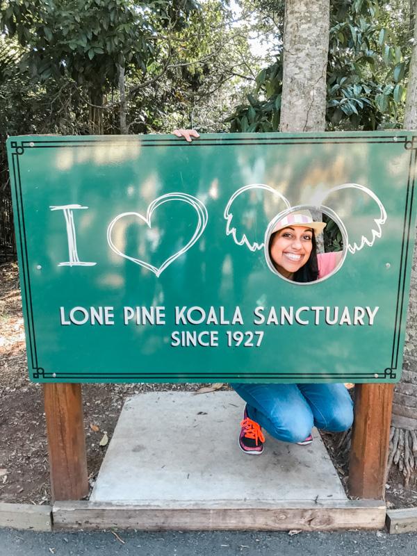 Aliya Bora at Lone Pine Koala Sanctuary sign in Brisbane, Australia
