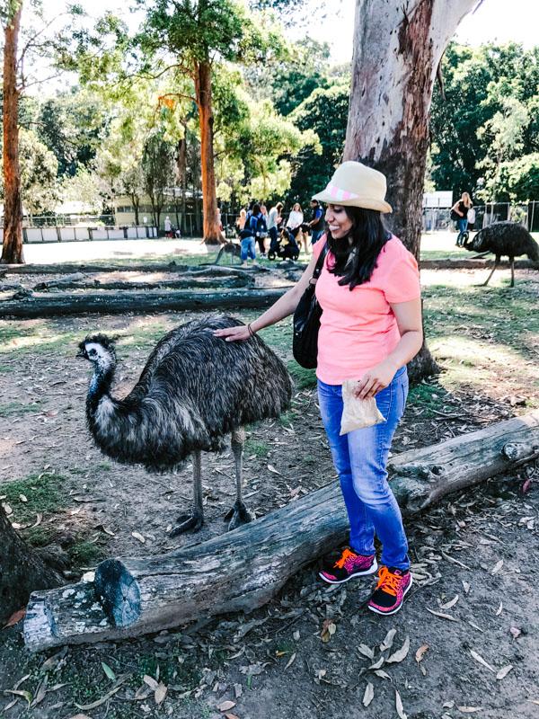 Aliya Bora with Emu at Lone Pine Koala Sanctuary in Brisbane, Australia