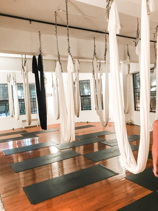 The swings for aerial yoga classes at Skylab in Sydney, Australia