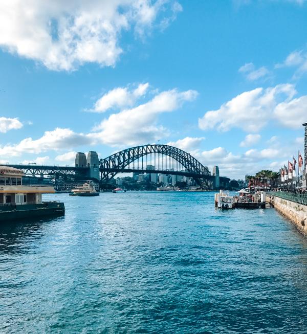 View of Sydney Harbour Bridge from Circular Quay in Sydney, Australia
