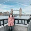 Girl's Guide to London - wide shot of Aliya Bora posing in front Tower Bridge in London