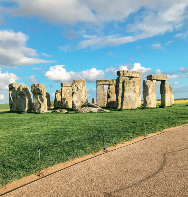 Golden hour view of Close up of rocks at Stonehenge in Salisbury, United Kingdom