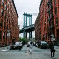 Bridge view from Dumbo, Brooklyn in New York City.